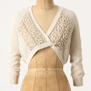 Anthro Knitted & Knotted Cropped Cardigan